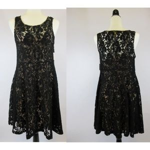 Free People Black Overlay Skater Dress Lace